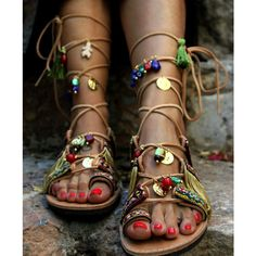 Tie Up Gladiator Sandals Boho Hippie Women's Shoes Greek Leather... ($172) ❤ liked on Polyvore featuring shoes, sandals, dark olive, gladiator & strappy sandals, women's shoes, leather fringe sandals, gladiator sandal, boho sandals, embellished sandals and bohemian sandals