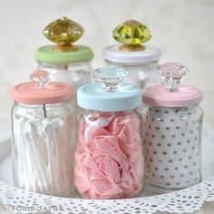 Upcycled glass jars with knobs Cleaning out your home can result in many odds and ends. Some are trash and others can be reused for new projects. See how to upcycle glass mason jars here! Upcycled Crafts, Easy Diy Crafts, Home Crafts, Diy Upcycled Jars, Repurposed Items, Crafts To Make And Sell, Creative Crafts, Yarn Crafts, Kids Crafts