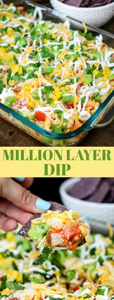 This Million Layer Dip is filled with tons of fresh vegetables and Mexican inspired flavors and Mission Organic Tortilla Chips. Everyone will go crazy for it at your next fiesta! Appetizer Recipes, Snack Recipes, Cooking Recipes, Healthy Recipes, Mexican Appetizers, Mexican Dips, Vegtable Appetizers, Healthy Dips, Appetizer Dips