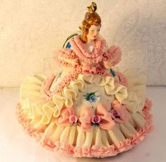 Antique Germany Dresden Porcelain Lace Figurine Victorian Lady Pink