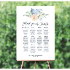Personalised Peach and Blue Floral Wedding Table / Seating Plan Wedding Table Seating, Rustic Wedding Reception, Plain White Background, Fairy Lights Wedding, Wedding Announcements, Wedding Save The Dates, Floral Wedding Invitations, Personalized Wedding, Wedding Planning