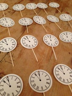 Around the Clock themed bridal shower  Tooth picks or cupcake toppers #aroundtheclock #bridalshower