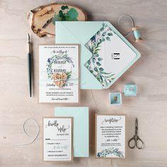 Pastel Wreath Wedding invitations wit birch bark heart tag #wedding #weddingideas #pastel #romantic #blush #wreath