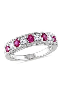 Lab-Created Ruby and White Sapphire Band in White Gold - View All Rings - Zales Sapphire Band, White Sapphire, Vetement Fashion, Birthstone Jewelry, White Gold Rings, Beautiful Rings, Jewelry Stores, Jewelry Accessories, Gemstone Rings