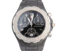 c54e7838212146 Michele Black Ceramic Diamond Tahitian Watch - Ann's Fabulous Closeouts  Omega Watch, Ceramics, Quartz