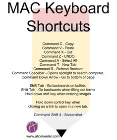 If I can give any educator a piece of advice, it is to learn some keyboard shortcuts. The faster you are with keyboard shortcuts the more productive you Macbook Hacks, Mac Keyboard Shortcuts, Macbook Pro Tips, Apple Mac Computer, Computer Lab, Computer Basics, Apple Laptop, Computer Shortcut Keys, Mac Tips