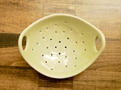 Pottery Berry Bowl - Handmade Ceramic Colander with Handle - Spearmint Green. via Etsy.