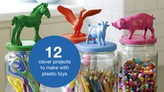 make colourful storage containers by gluing a small figurine to the lid of a glass jar, and spray painting the lid and animal in a fun colour.