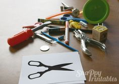 Household Objects Silhouette Playtime Cards