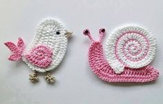 little bird and snail crochet... loving the colours