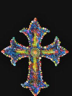 Mosaic Millefiori Glass Lampwork Cross by KateSutcliffeMosaics, $50.00