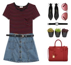 """""""Red YSL"""" by starit ❤ liked on Polyvore featuring Yves Saint Laurent, Chicnova Fashion, thumbsUp! and Oakley"""