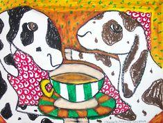 FIELD SPANIEL Drinking Coffee Outsider Pop Folk Vintage Art 8 x 10 Signed Print