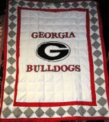 Georgia Bulldog Infant Mini Quilt... Do you think we could duplicate this, @Jerry Howard? Maybe trim the edge in black and white chevron?