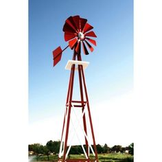 Decorative Red and White Powder Coated Metal Backyard Windmill - Outdoor Sculptures and Statues at Hayneedle
