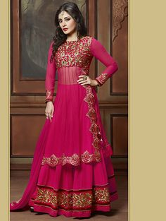 Looking for Bollywood Anarkali Suits for functions & parties? We provide Bollywood Designer Salwar Kameez & Bollywood Replica Suits with various designs. Choli Dress, Anarkali Dress, Anarkali Suits, Long Anarkali, Lehenga Choli Designs, Net Lehenga, Lehenga Style, Cape Lehenga, Pink Lehenga