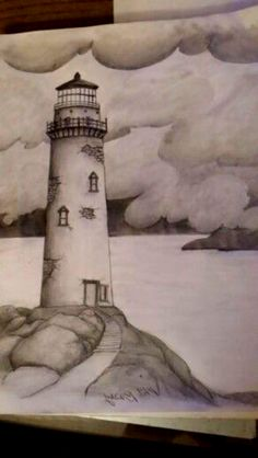 Lighthouse with small sailboat. Pencil draw with some little yellow in small paper made by Makis(aka Kosmas). For more drawings visit my… - New Pin Shading Drawing, Pencil Sketch Drawing, Pencil Art Drawings, Painting & Drawing, Dark Art Drawings, Art Drawings Sketches Simple, Easy Drawings, Pencil Sketches Landscape, Landscape Drawings