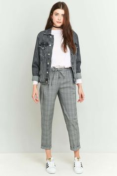 Light Before Dark Tie Front Grey Checked Trousers