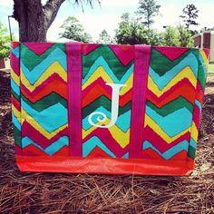 Chevron beach bag! #chevron #beach #monogram