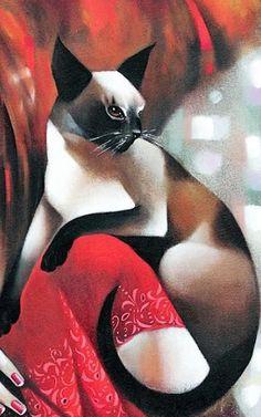Detail of Siamese cat on woman's shoulder by Ira Tsantekidou (Greek I Love Cats, Crazy Cats, Cute Cats, Adorable Kittens, Siamese Cats, Cats And Kittens, Ragdoll Kittens, Funny Kittens, Bengal Cats