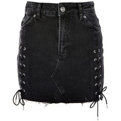 TopShop Tall Side Lace Up Mini Skirt (205 BRL) ❤ liked on Polyvore featuring skirts, mini skirts, bottoms, faldas, topshop, washed black, lace up front skirt, high waisted short skirts, lace up skirt and high-waisted skirt