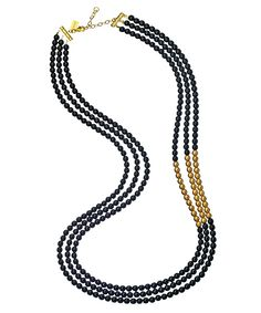 Whoa, speaking of a modern day mangal sutra. K. Amato Black Onyx and Gold Color Beaded Necklace