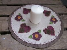 Wool penny rug hearts and flowers by granniesraggedybags on Etsy, $14.00