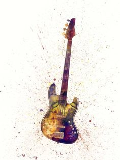 """Electric Bass Guitar Abstract Watercolor"" by Michael Tompsett. Amp up your walls with prints from www.imagekind.com!"