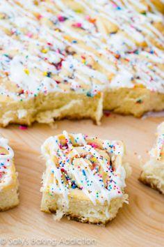 Cake Batter Cinnamon Rolls Recipe: http://sallysbakingaddiction.com/2013/03/25/cake-batter-cinnamon-rolls-without-cake-mix/