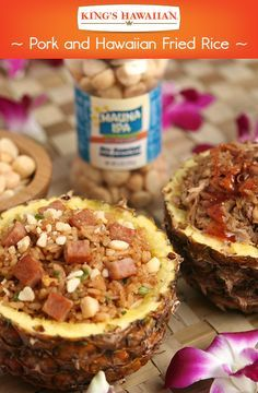 Food served in pineapples is a sure way to take your #HawaiianFoodsWeek menu to the next level. Serve this fried rice with SPAM or a Kona Lager Pulled Pork topped with chopped Dole Pineapple Slices and Mauna Loa Dry Roasted Macadamia Nuts.