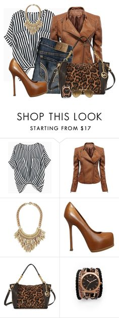 """Untitled #342"" by the-girl-with-the-green-scarf19 ❤ liked on Polyvore featuring Hollister Co., GUESS by Marciano, Yves Saint Laurent, Michael Kors, Sara Designs, Ray-Ban, stripes, michaelkors, rayban and LeopardPrint"