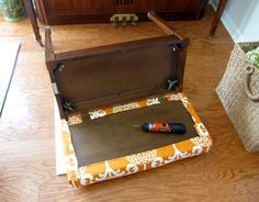 How to Make a Cushion for a Bench without Sewing a Stitch. Love the Orange colour.