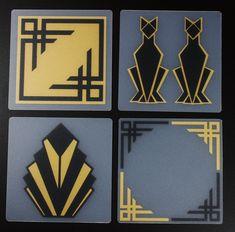 Hand Printed Art Deco Coasters black & gold, set of 4 Art Deco Wall Art, Art Deco Decor, Art Deco Home, Art Deco Glass, Art Deco Design, Art Deco Borders, Art Deco Cards, Miami Art Deco, Art Deco Pattern