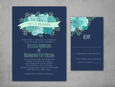 Mint Floral Wedding Invitation & RSVP by UrbanArrowCo on Etsy, $35.00