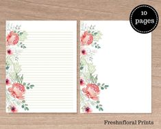 Pink and Grey Peony stationery set, Floral Prints, US Letter Size, Printable stationery, Set of Kandace collection School Stationery, Stationery Set, Money Chart, Printable Planner, Printables, Instagram Handle, Watercolor Design, Writing Paper, Dusty Pink