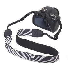 BIRUGEAR Zebra Comfortable Camera Shoulder / Neck Strap for Canon Nikon FujiFilm Sony Pentax Panansonic and more Digital Cameras *with Cleaning Cloth*