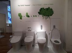 New high-tech toilets: no hands or paper required. - Already popular in Japan, TOTO the brand that makes washlet high tech toilets, is now trying to break into the US market. #greentech