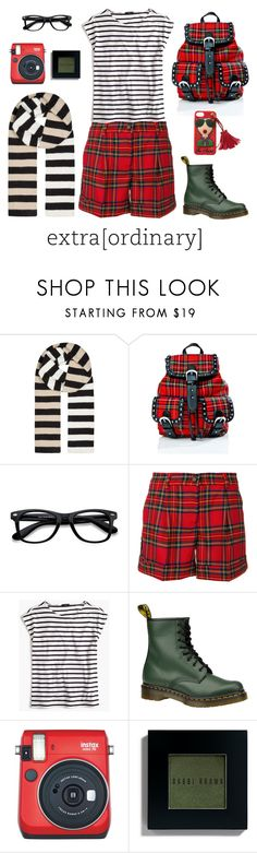 """""""extra(ordinary)"""" by ms-wednesday-addams ❤ liked on Polyvore featuring Diane Von Furstenberg, Current Mood, EyeBuyDirect.com, P.A.R.O.S.H., J.Crew, Dr. Martens, Fuji, Bobbi Brown Cosmetics, stripes and Boots"""