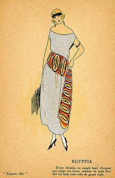 Silver lame chemise with orange satin belt, ca 1920