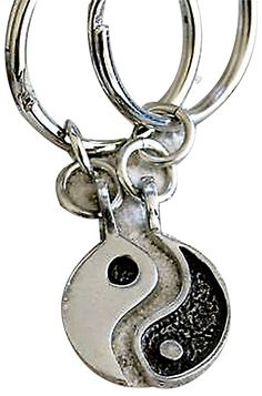 "Amazon.com: Unique & Custom 1 Single Medium Size ""Split"" Circle Keychain Ring Made of Pewter w/ Metallic Chinese Superstition Yin & Yang Style Charm Made of Metal {Silver & Black Color}: Automotive"
