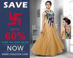 Diwali Festival Special Sarees, Salwar, Suits, Kurtis and Lehengas Online Shopping with Discount Prices @ http://www.crazzon.com/ Call / Whats App: +91-74055 57700 Order Online Now!