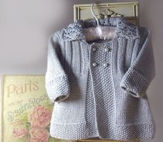 OGE Knitwear Designs - P063 - Baby girls jacket with lace collar