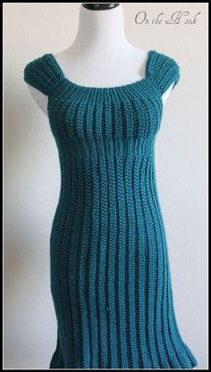 ON SALE Crochet Sweater Dress Womens Teal Empire por OnTheHook