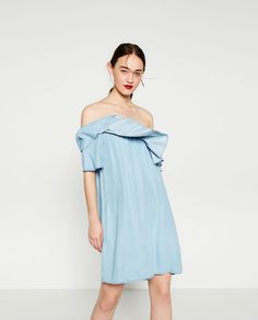 pinned by Hihaleyannie /  DENIM OFF-THE-SHOULDER DRESS from Zara