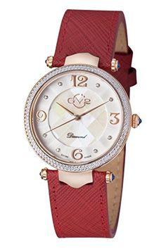 0e89177773e GV2 by Gevril Sassari Womens Diamond Swiss Quartz Burgundy Leather Strap  Watch