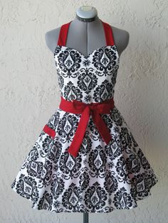 Sweetheart Hostess Apron  Black Damask with a by AquamarCouture, $37.00