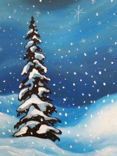 Paint Nite. Winter's Sparkle