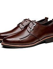 Sapatos Masculinos Oxfords Preto / Marrom Couro Escritório & Trabalho / Casual