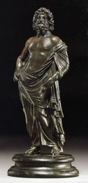 """Asklepius,"" Roman, bronze, Antonine Period, circa mid-2nd Century A.D., 7 1/4 inches high"