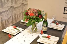 decorating the christmas table with a fresh floral bouquet
